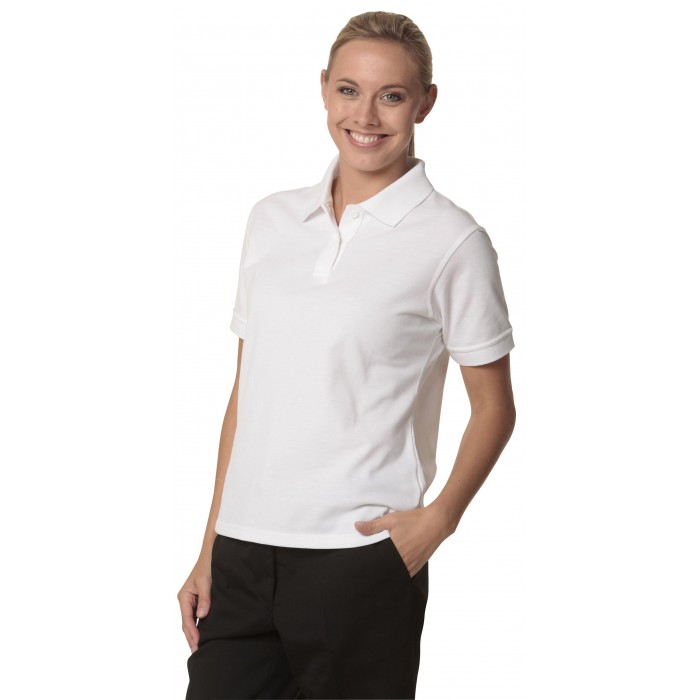 Ladies Tight Pique Knit Short Sleeve Polo  0c31e5bad519